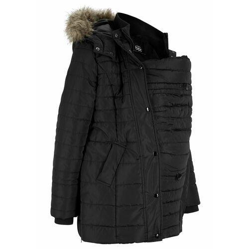 Płaszcz ciążowy pikowany z wstawką na nosidełko niemowlęce bonprix czarny, w 2 rozmiarach