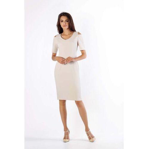 b3cabbe3a4 Zobacz ofertę Nommo Beżowa klasyczna ołówkowa sukienka open shoulder