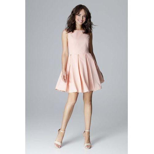 fa216dacc5 Różowa koktajlowa sukienka bez rękawów z dołem w kontrafałdy
