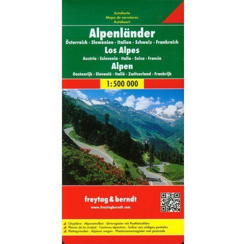 Alpy (Austria, Słowenia, Włochy, Szwajcaria, Francja). Mapa samochodowa, składana 1:500 000. Freytag & Berndt (9783707904253)