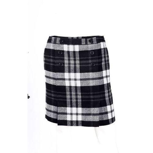 Spódnica w kratę bonprix czarno-biały w kratę, kolor czarny