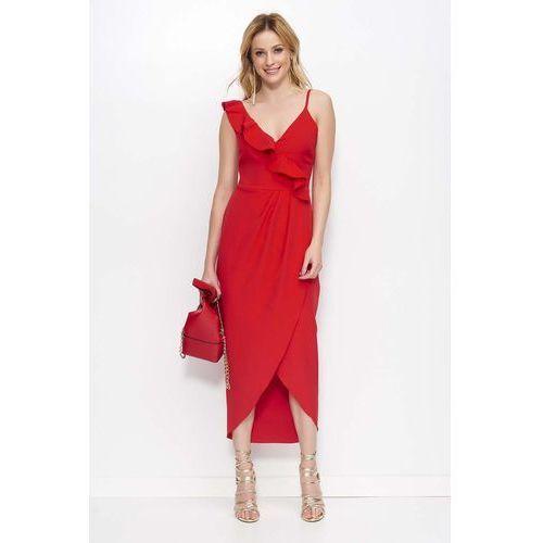 e4a99a1946e5ec Zobacz ofertę Czerwona sukienka długa kopertowa z falbankami Makadamia