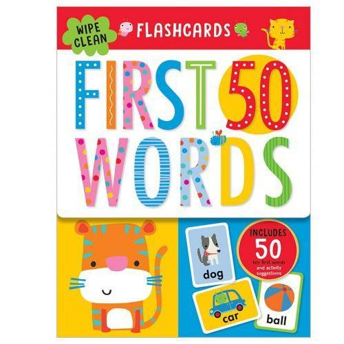 Flashcards 50 First Words ze zmywalnym flamastrem