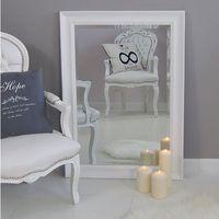 Design by impresje24 Lustro fazowane, drewniana, biała rama.