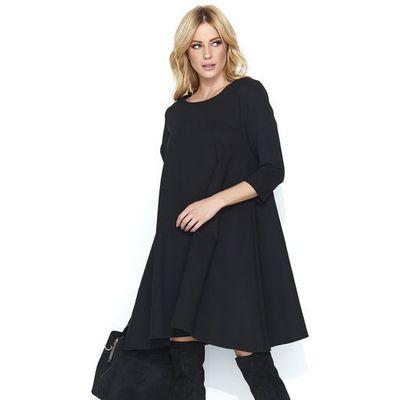 ed577ab396 Czarna wizytowa sukienka trapezowa z rękawem ¾ marki Makadamia MOLLY