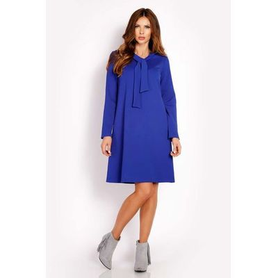 2cf1db75c6 Niebieska Sukienka Trapezowa z Krawatką