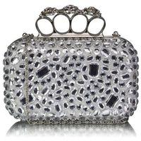 Biała torebka wizytowa szkatułka z kryształkami - biały