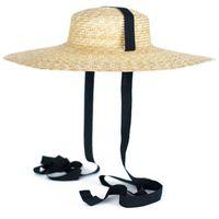 Kapelusz damski z dużym rondem wiązany plażowy