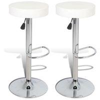 vidaXL Krzesła barowe 2 szt. białe z imitacji skóry