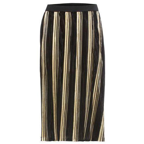 Spódnica plisowana z metalicznym połyskiem bonprix czarno-złoty, kolor czarny