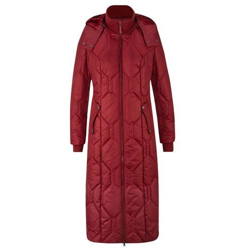 Długi płaszcz z diamentowym pikowanym przeszyciem czerwony kasztanowy marki Bonprix