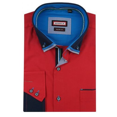 34a0e178cd9646 A Speed.a Koszula męska gładka czerwona slim fit z podwójnym kołnierzykiem  na długi rękaw d844