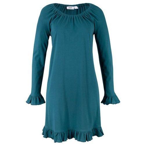 Sukienka z drukowaną wstawką siatkową bonprix różowo-kolorowy wzorzysty, kolor niebieski