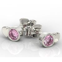 Węc - twój jubiler Kolczyki z białego złota z różowymi cyrkoniami bpk-6820-c - białe \ cyrkonia różowa