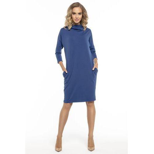 c58685ce8263c6 ... Luźna sportowa sukienka z golfem niebieska T246, kolor niebieski -  Galeria produktu ...