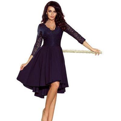 90ab1a0b30 suknie sukienki granatowa szyfonowa suknia z pawimi piorami ...