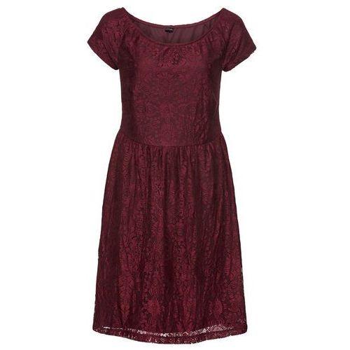 Sukienka koronkowa z odsłoniętymi ramionami: must have czerwony klonowy, Bonprix, 32-50