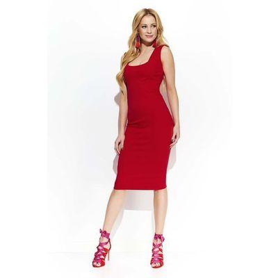 88b0c0c883 Czerwona elegancka ołówkowa midi sukienka z przeszyciami marki Makadamia  MOLLY