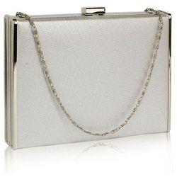Efektowna gładka torebka wizytowa kopertówka w kolorze srebra - srebrny