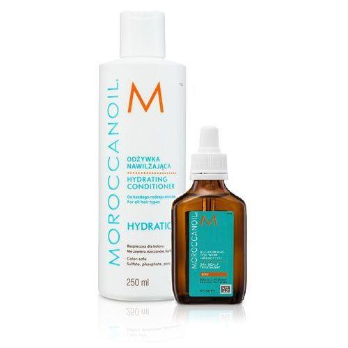 Moroccanoil zestaw do przesuszonej skóry głowy | hydration - odżywka nawilżająca z olejkiem arganowym 250ml, dry scalp no more olejek przywracający równowagę przesuszonej skóry głowy 45 ml