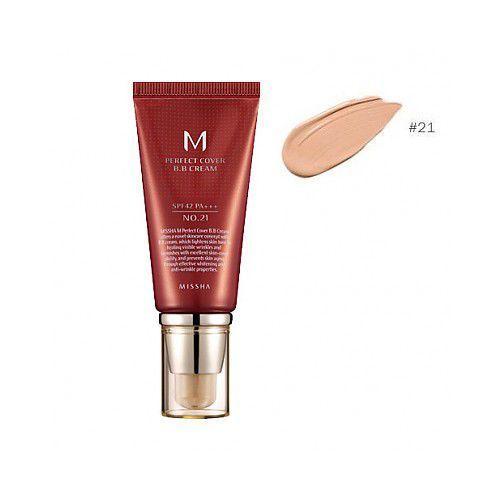 M perfect cover krem bb z wysoką ochroną uv odcień no. 21 light beige spf42/pa+++ 50 ml Missha