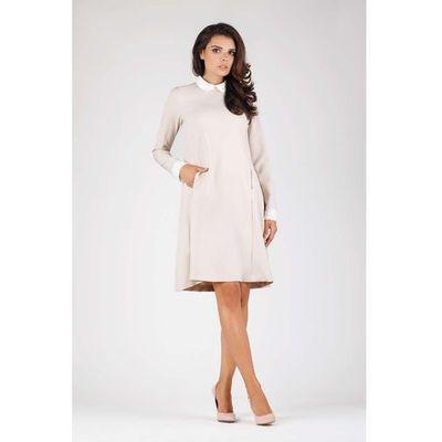4249338eb8 Beżowa Wizytowa Sukienka Trapezowa z Białym Kołnierzykiem