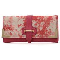 Różowy portfel damski z kolorowym nadrukiem - różowy || wielobarwny Kolorowe portfele (-25%)