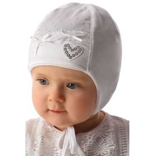 Biała czapka niemowlęca wiązana 5X34A3