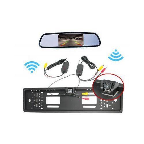 """Zestaw cofania: kamera bezprzewodowa w ramce tablicy rejestracyjnej + monitor lcd 4,3"""" w lusterku. marki Unitec"""