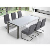 Zestaw mebli stal szlachetna - stół 220 - krzesła do wyboru - arctic i marki Beliani