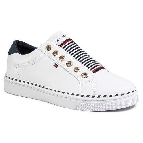 Sneakersy TOMMY HILFIGER - Tommy Elastic Cty Sneaker FW0FW04783 White YBS, kolor biały