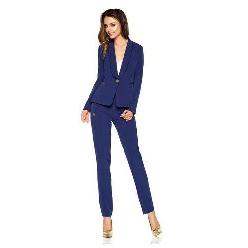 Granatowe Eleganckie Spodnie Garniturowe z Prostymi Nogawkami, kolor niebieski