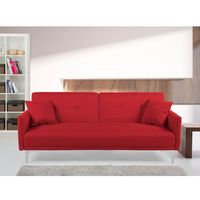 Sofa z funkcją spania czerwona - kanapa rozkładana - wersalka - LUCAN, kolor czerwony