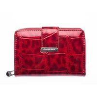 Skórzany portfel damski lakierowany czerwony cieniowany średni
