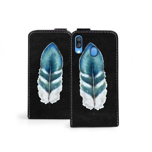 Samsung Galaxy A40 - etui na telefon Flip Fantastic - turkusowe piórko, kolor niebieski