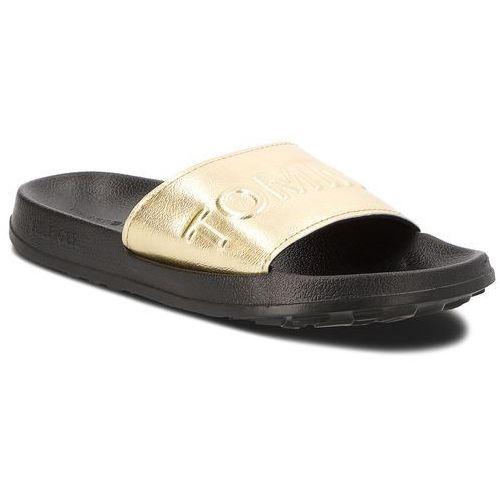 f14b201a3ea3a Tommy jeans Klapki - tj metallic pool slide en0en00227 light gold 708 -  galeria Tommy jeans