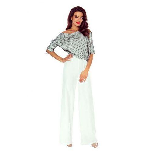 b8360e7e18bba3 Szaro Biały Elegancki Kombinezon z Szerokim Spodniami, 1 rozmiar ...