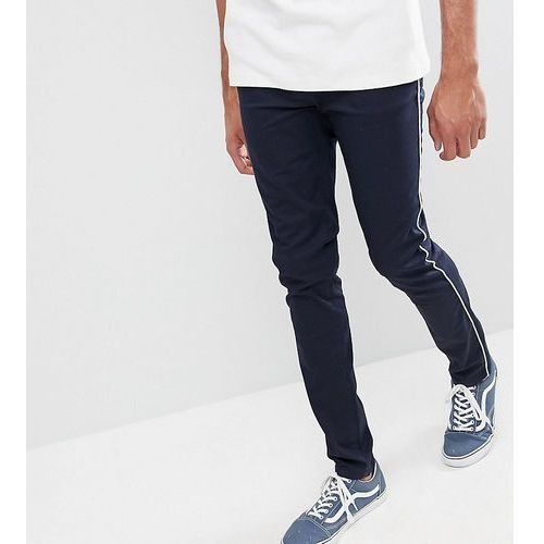 Design tall skinny chinos in navy with white piping - navy, Asos