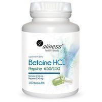Kapsułki Betaine HCL, Pepsyna 650/150 mg x 100 kaps. Aliness