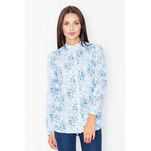 Koszula na stójce we wzór niebieska mozaika marki Figl