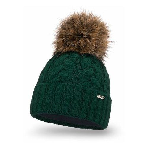 Modna czapka damska z pomponem PaMaMi- Butelkowa zieleń