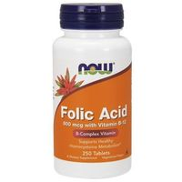 Now Foods Folic Acid (Kwas Foliowy + Witamina B12) 800mcg / 25mcg 250 tabl.