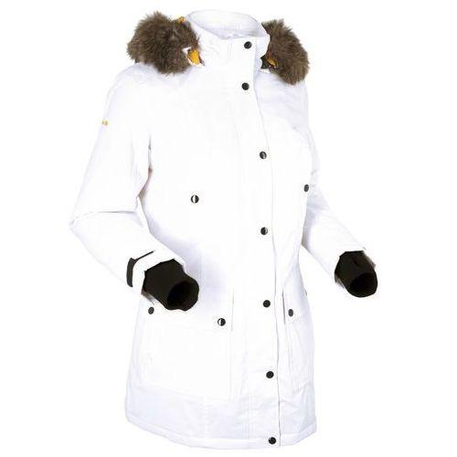 Długa kurtka outdoorowa funkcyjna z kapturem bonprix biel wełny, kolor biały