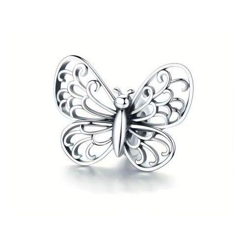 Rodowany srebrny charms pandora ażurowy motyl motylek butterfly srebro 925 BEAD143, kolor szary