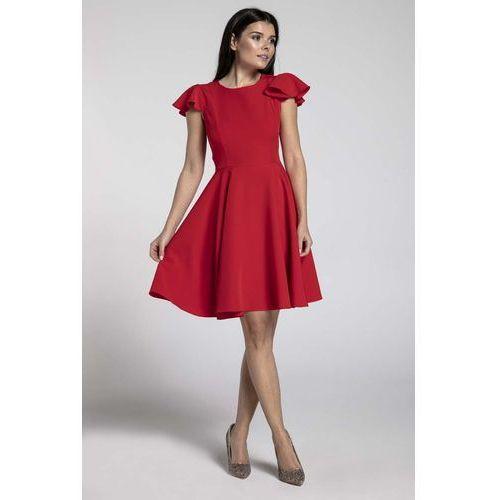 dbee103b1e Czerwona rozkloszowana sukienka z rękawkiem typu motylek (Nommo ...