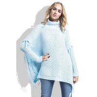 Niebieski Sweter Ponczo z Frędzlami