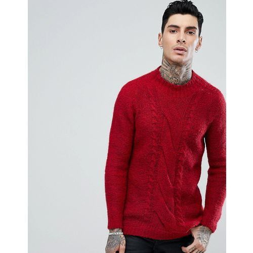 Cable knit mohair wool blend jumper in red - red Asos