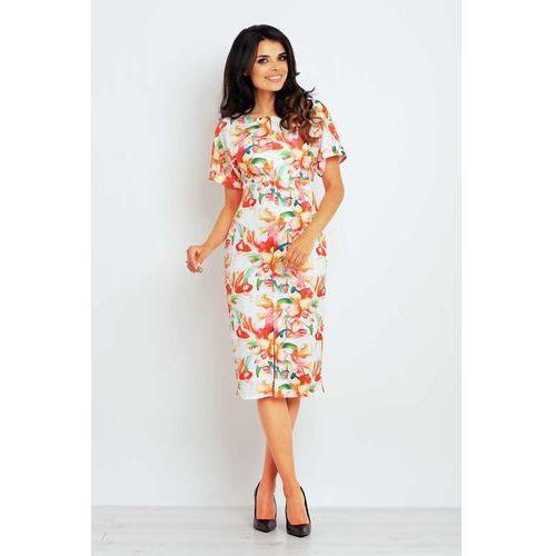 Infinite you Pomarańczona sukienka midi z krótkim rękawem we wzory