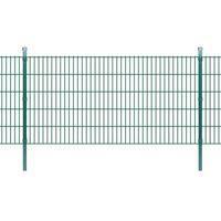 vidaXL Panele ogrodzeniowe 2D z słupkami - 2008x1030 mm 18 m Zielone