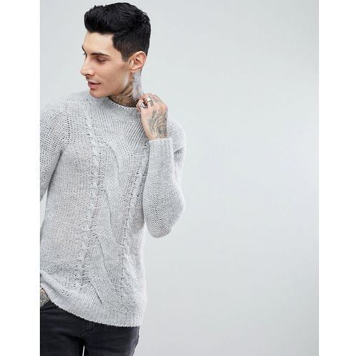 ASOS Cable Knit Mohair Wool Blend Jumper In Grey - Grey, w 4 rozmiarach